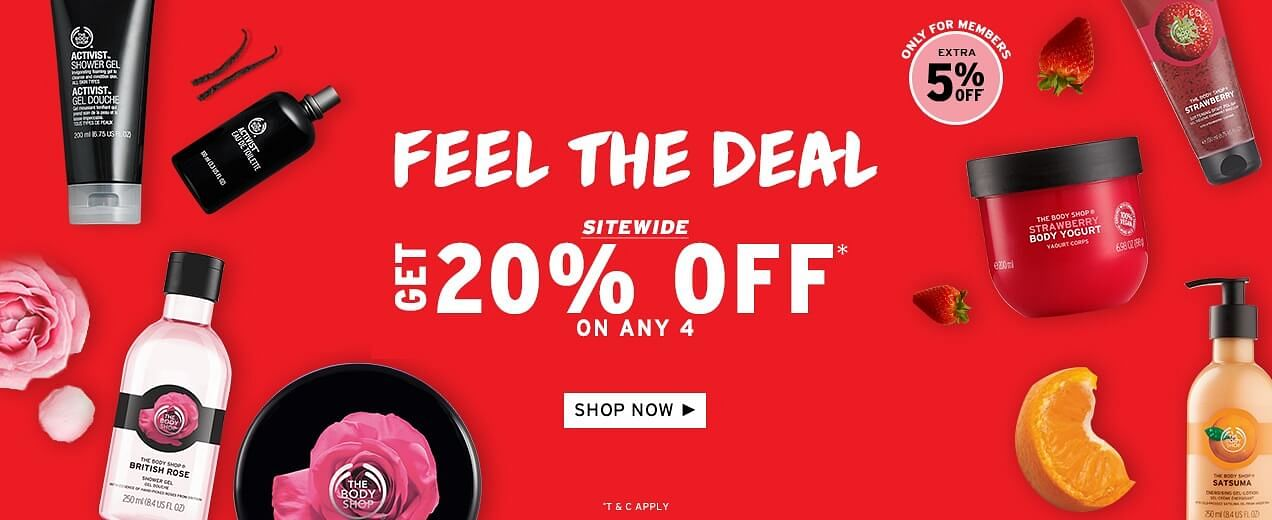 FEEL THE DEAL | Flat 20% Off On Purchase Of Any 4 Products + Free Shipping